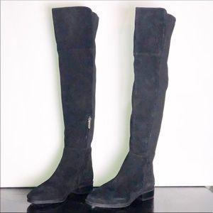 Sam Edelman Black Suede Panel Over Knee Boots NWOB